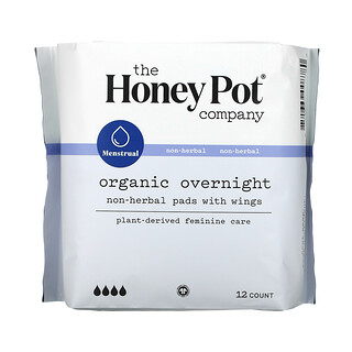 The Honey Pot Company, Non-Herbal Pads With Wings, Organic Overnight, 12 Count