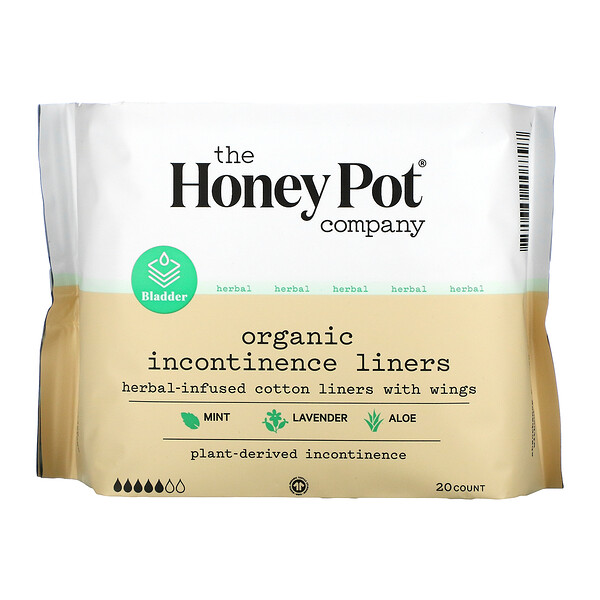 The Honey Pot Company,  Herbal-Infused Cotton Liners With Wings, Organic Incontinence Liners, 20 Count