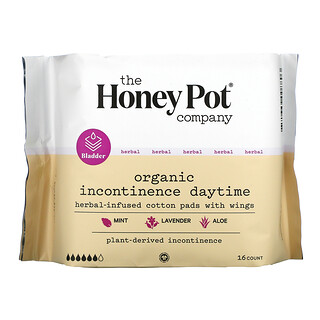 The Honey Pot Company, Herbal-Infused Cotton Pads With Wings, Organic Incontinence Daytime ,  16 Count