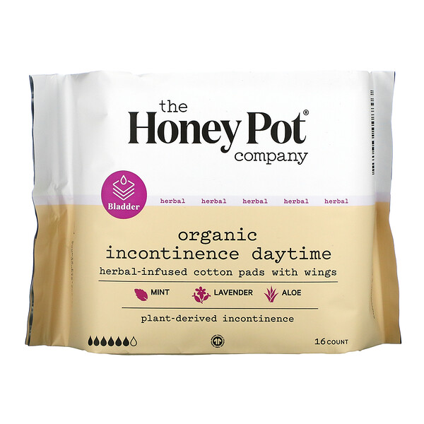 Herbal-Infused Cotton Pads With Wings, Organic Incontinence Daytime ,  16 Count