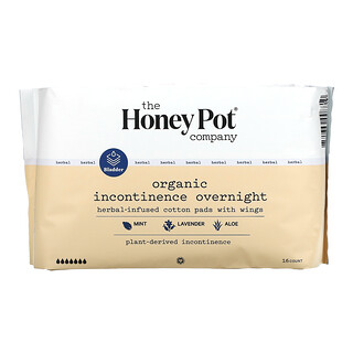 The Honey Pot Company, Herbal-Infused Cotton Pads With Wings, Organic Incontinence Overnight , 16 Count