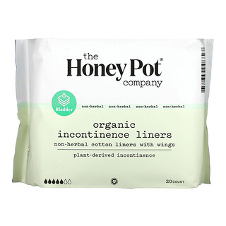 The Honey Pot Company, Non-Herbal Cotton Liners With Wings, Organic Incontinence Liners, 20 Count