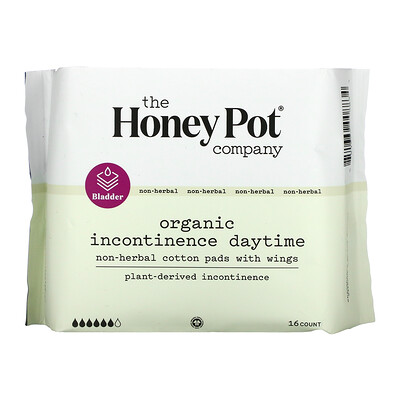 Купить The Honey Pot Company Organic Incontinence Daytime, Non-herbal Cotton Pads With Wings, 16 Count
