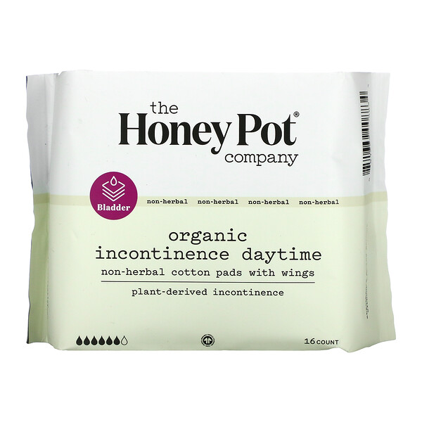 The Honey Pot Company, Organic Incontinence Daytime, Non-herbal Cotton Pads With Wings, 16 Count