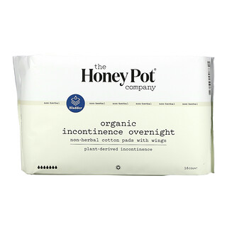 The Honey Pot Company, Non-Herbal Cotton Pads With Wings, Organic Incontinence Overnight , 16 Count