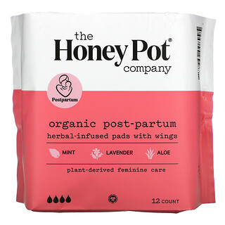 The Honey Pot Company, Organic Herbal-Infused Pads with Wings, Post-Partum , 12 Count