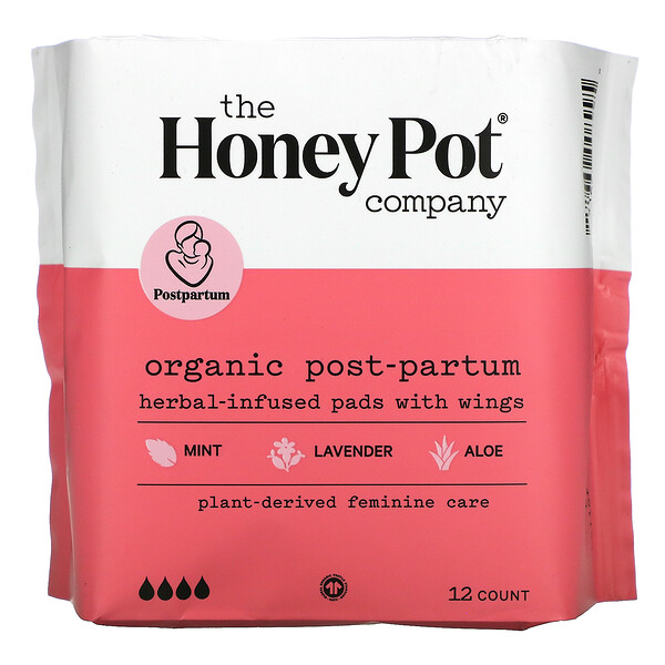 Organic Herbal-Infused Pads with Wings, Post-Partum , 12 Count