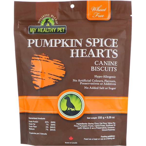 Holistic Blend, My Healthy Pet, Pumpkin Spice Hearts, Canine Biscuits, 8.29 oz (235 g) (Discontinued Item)