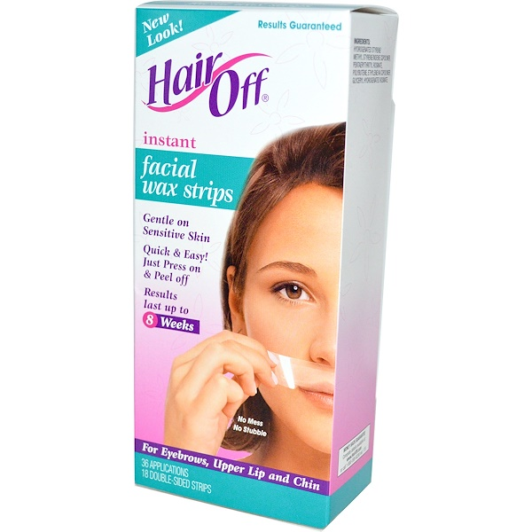 Hair Off, Instant Facial Wax Strips, 18 Double-Sided Strips (Discontinued Item)