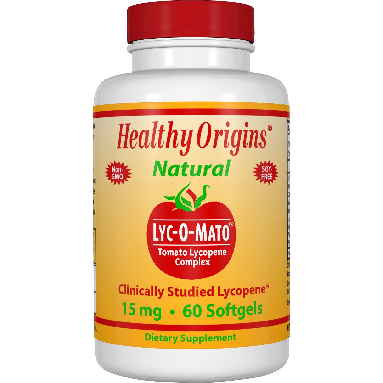 Healthy Origins, Lyc-O-Mato - комплексная добавка ликопина из помидоров, 15 мг, 60 гелевых капсул