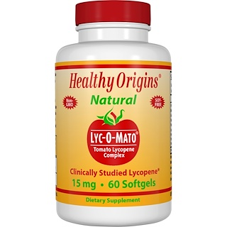 Healthy Origins, Lyc-O-Mato, Tomato Lycopene Complex, 15 mg, 60 Softgels