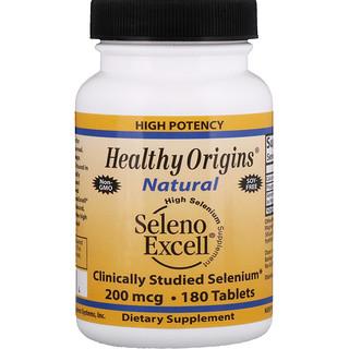 Healthy Origins, セレノエクセル、200 mcg、 180 錠
