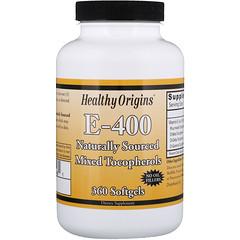 Healthy Origins, E- 400、ソフトジェル360個