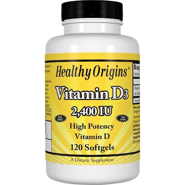 Healthy Origins, Vitamin D3, 2,400 IU, 120 Softgels