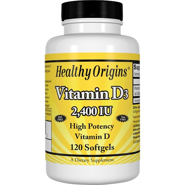 Healthy Origins, ヘルシーオリジンズ, ビタミンD3、2,400 IU、120ソフトジェル
