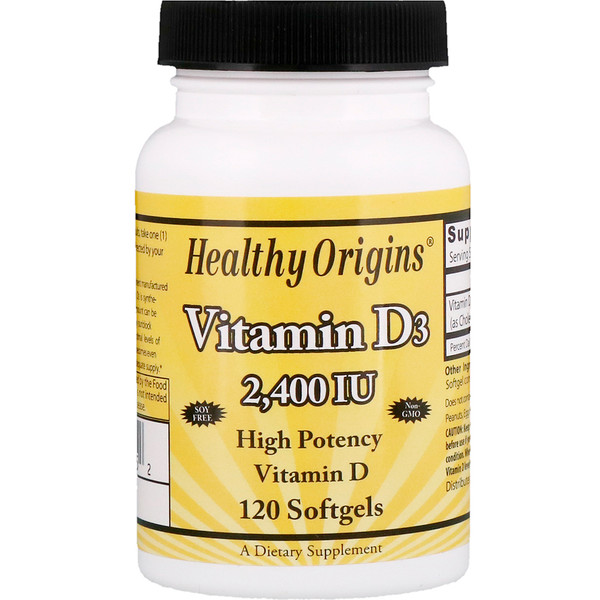 Healthy Origins, Vitamina D3, 2400 UI, 120 cápsulas gelatinosas (Discontinued Item)