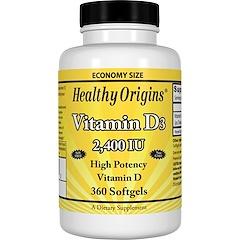 Healthy Origins, Vitamin D3, 2,400 IU, 360 Softgels