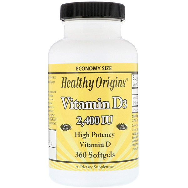 Healthy Origins, Vitamin D3, 2,400 IU, 360 Softgels