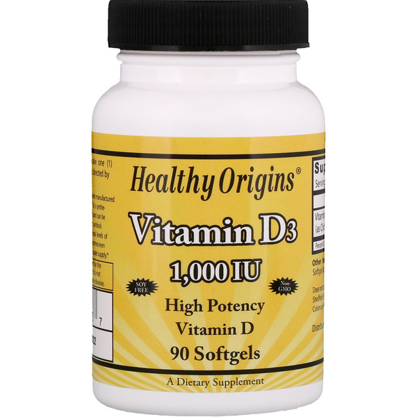Healthy Origins, Vitamin D3, 1,000 IU, 90 Softgels