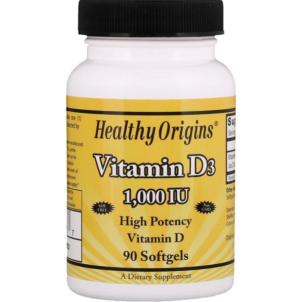 Healthy Origins, Витамин D3, 1000 МЕ, 90 гелевых капсул