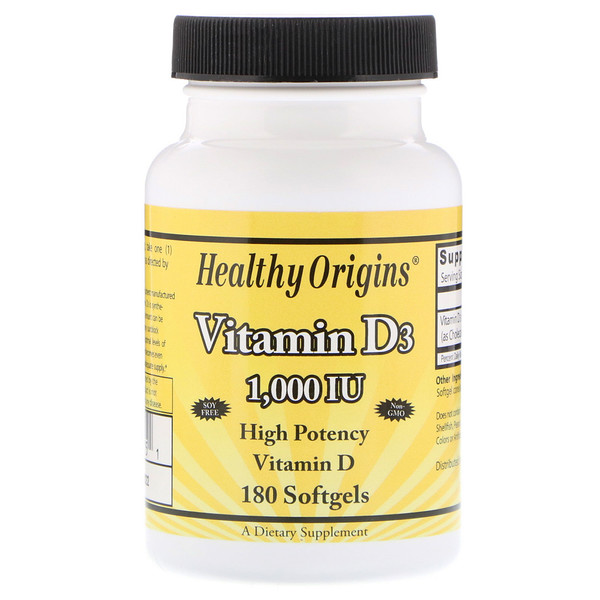 Healthy Origins, Vitamina D3, 1000 IU, 180 perlas (Discontinued Item)