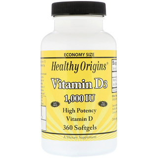 Healthy Origins, Vitamin D3, 1,000 IU, 360 Softgels