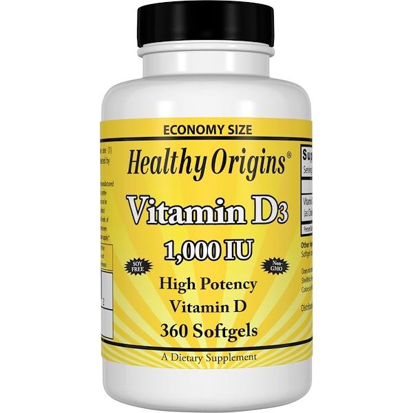 Healthy Origins, Vitamin D3, 1,000 IU, 360 Softgels