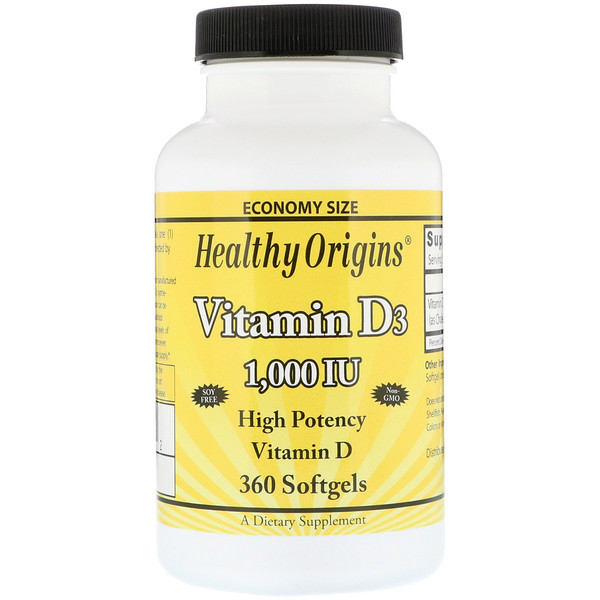 Healthy Origins, Vitamin D3, 1,000 IU, 360 Softgels (Discontinued Item)