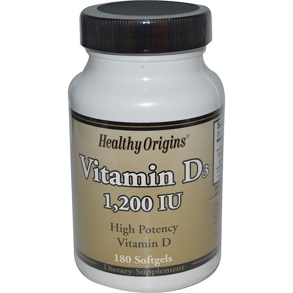 Healthy Origins, Vitamin D3, 1,200 IU, 180 Softgels (Discontinued Item)