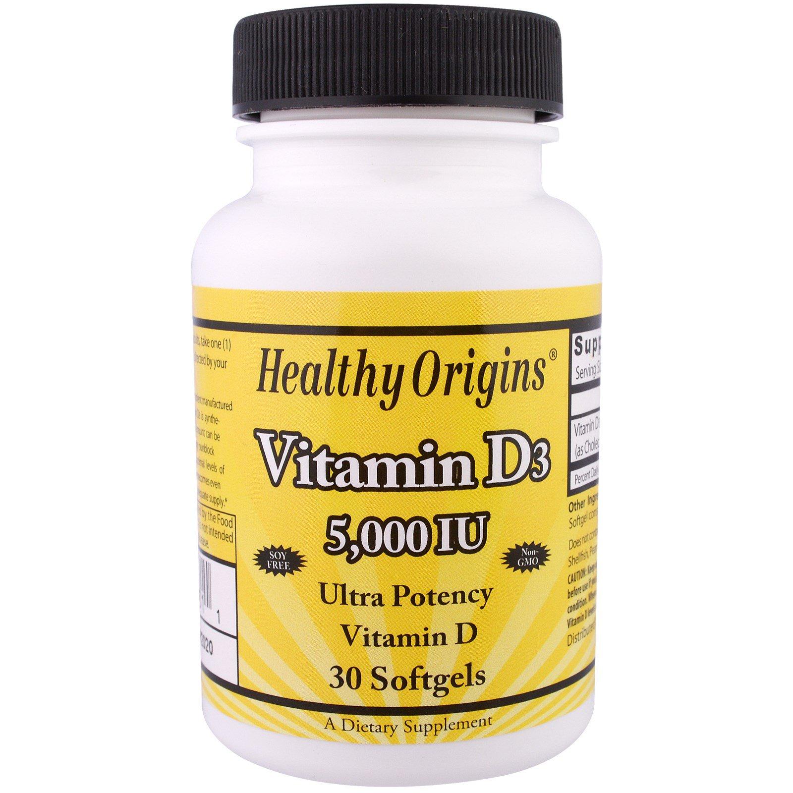 Healthy Origins, Витамин D3, 5000 МЕ, 30 капсул