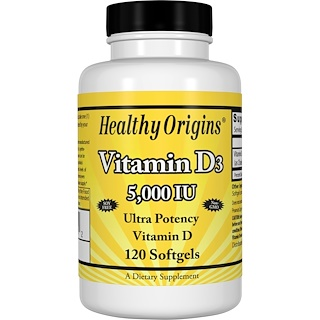 Healthy Origins, ビタミンD3, 5,000 IU, 120ソフトゼリー