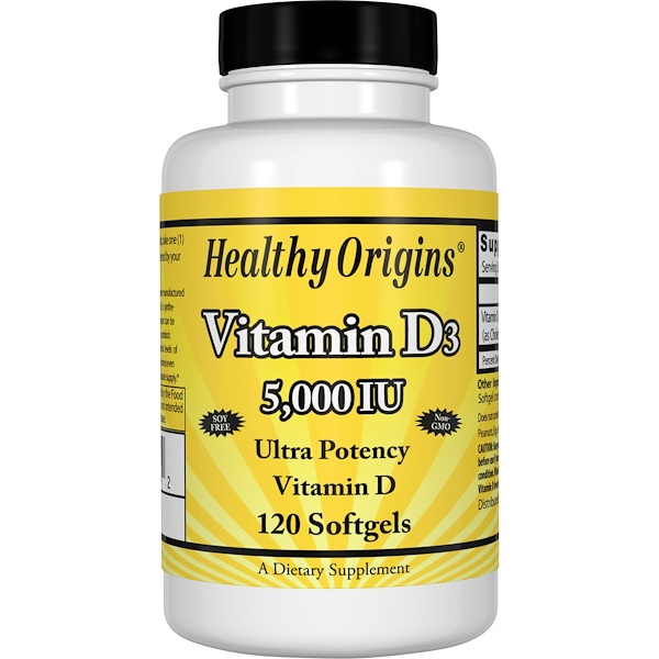 Healthy Origins, فيتامين D3، 5000 وحدة، 120 كبسولة هلامية
