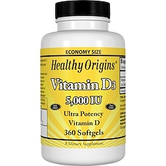 Healthy Origins, Vitamine D3, 5 000 UI, 360 Softgels