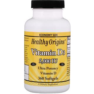 Healthy Origins, ビタミンD3, 5,000 IU, 360ソフトゼリー