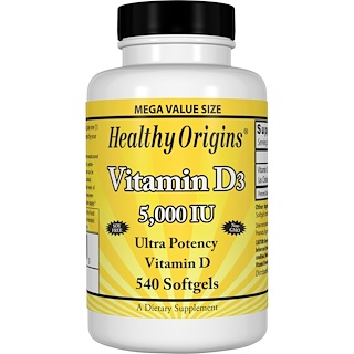 Healthy Origins, Vitamin D3, 5,000 IU, 540 Softgels