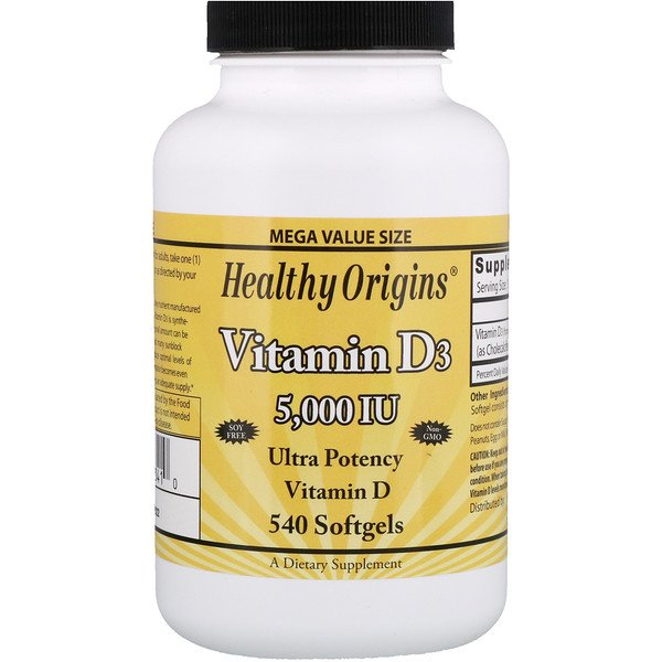 Healthy Origins, Vitamin D3, 5,000 IU, 540 Softgels (Discontinued Item)