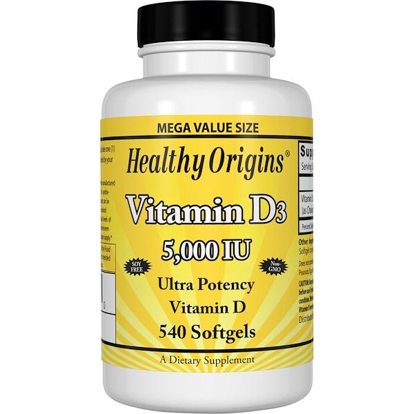 Healthy Origins, Vitamin D3, 5,000 IU, 540 Softgels
