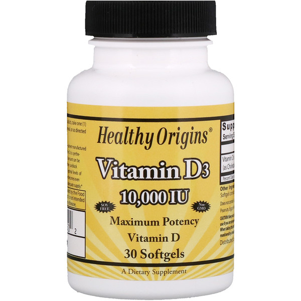 Healthy Origins, Vitamin D3, 10,000 IU, 30 Softgels (Discontinued Item)