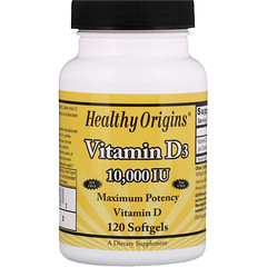 Healthy Origins, Vitamin D3, 10,000 IU, 120 Softgels
