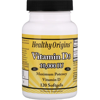 Healthy Origins, Vitamine D3, 10 000 UI, 120 gélules