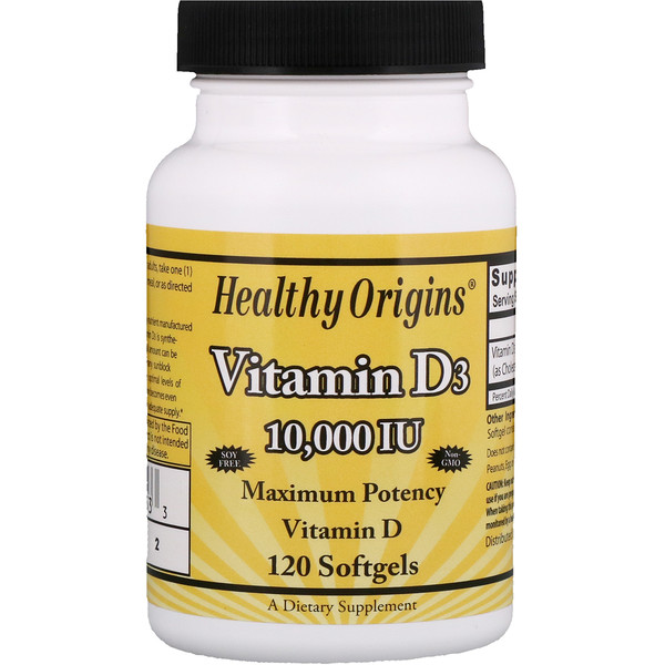 Healthy Origins, Vitamin D3, 10,000 IU, 120 Softgels (Discontinued Item)
