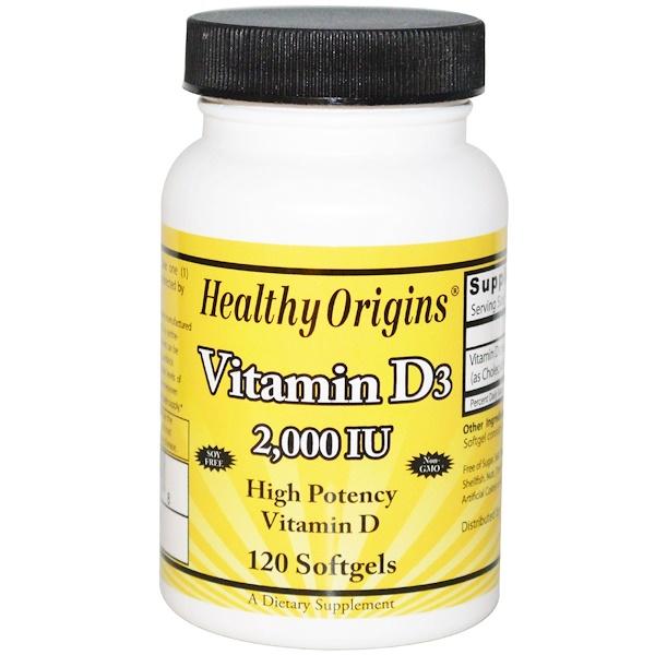 Healthy Origins, Витамин D3, 2000 МЕ, 12 мягких таблеток (Discontinued Item)