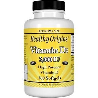 Healthy Origins, 비타민 D3, 2,000 IU, 360 소프트젤