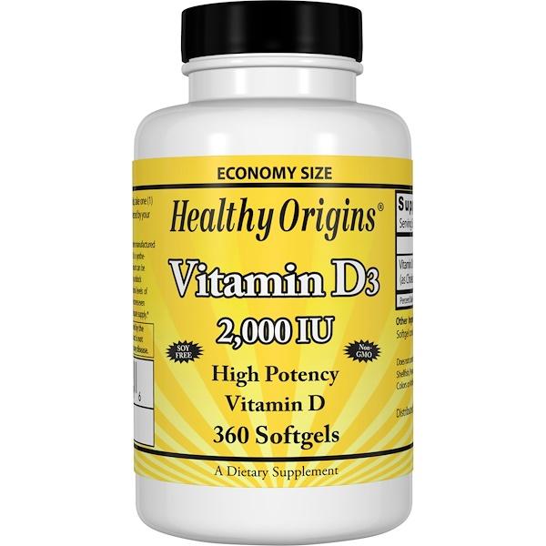 Healthy Origins, Vitamin D3, 2,000 IU, 360 Softgels