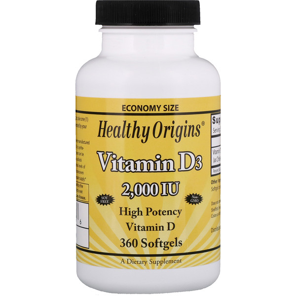 Healthy Origins, Vitamin D3, 2,000 IU, 360 Softgels