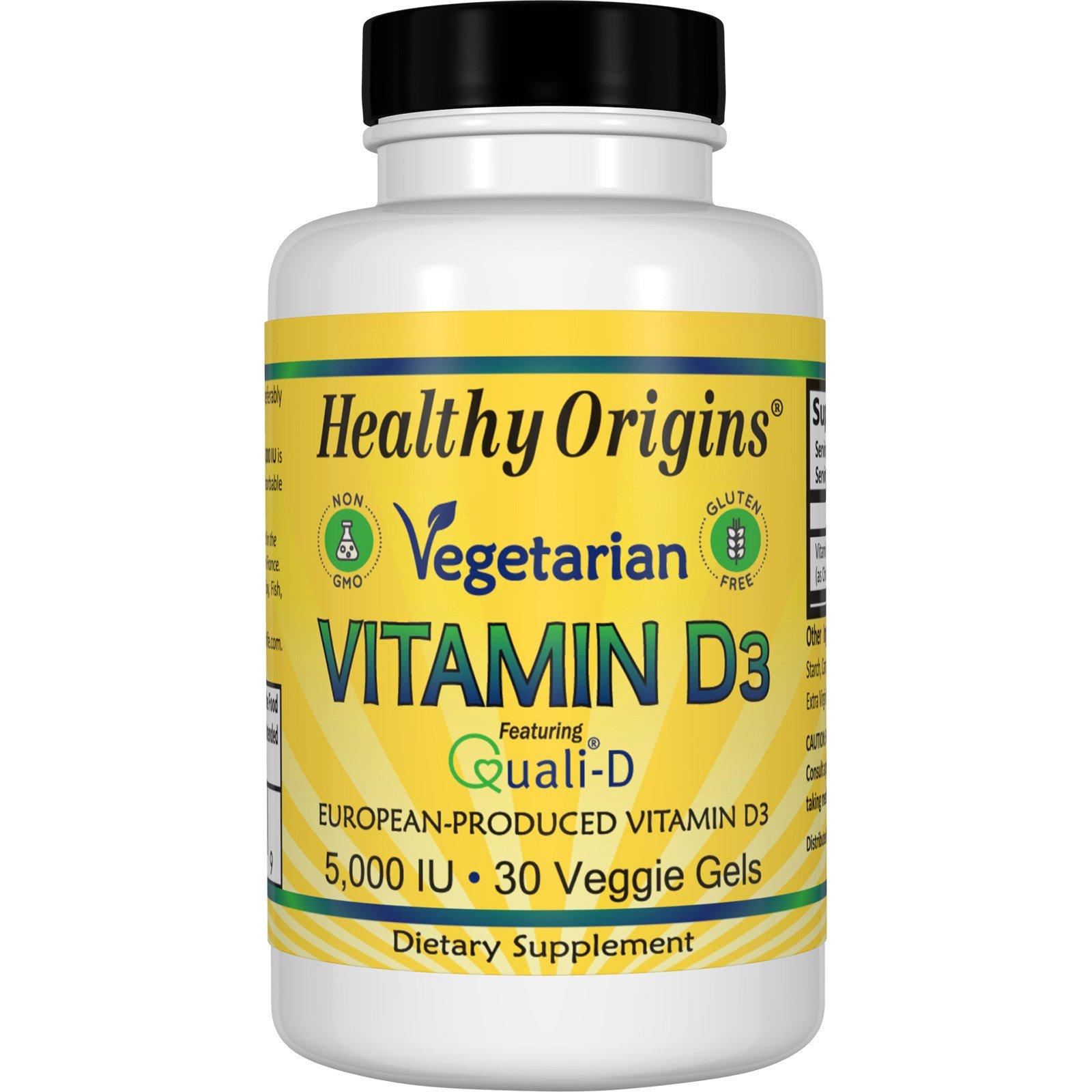 Healthy Origins, Вегетарианский витамин D3, 5 000 единиц, 30 вегетарианских пастилок