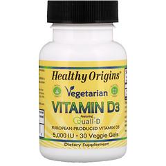Healthy Origins, فيتامين نباتي D3, 5,000 وحدة دولية, 30 كبسولة نباتية