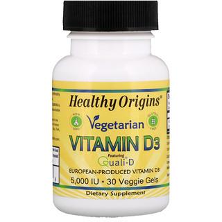 Healthy Origins, Vegetarian Vitamin D3, 5,000 IU, 30 Veggie Gels