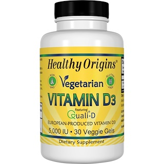 Healthy Origins, 素食維生素 D3,5000 IU,30 粒素食膠囊