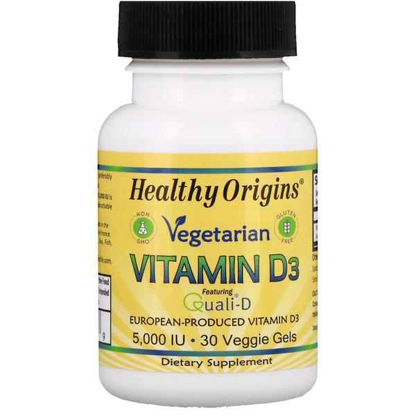 Healthy Origins, Vegetarian Vitamin D3, 5,000 IU, 30 Veggie Gels (Discontinued Item)
